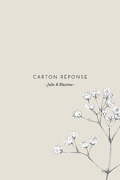 Carton réponse mariage Joli brin (portrait) beige finition