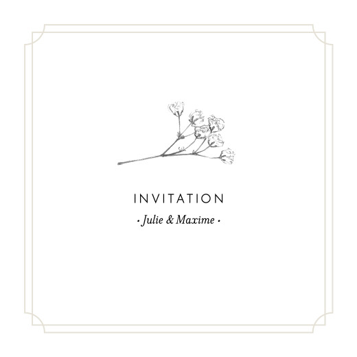 Carton d'invitation mariage Joli brin beige