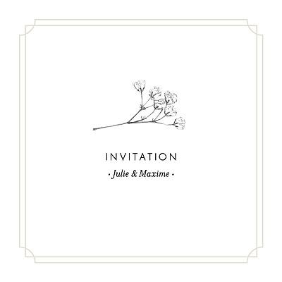 Carton d'invitation mariage Joli brin beige finition