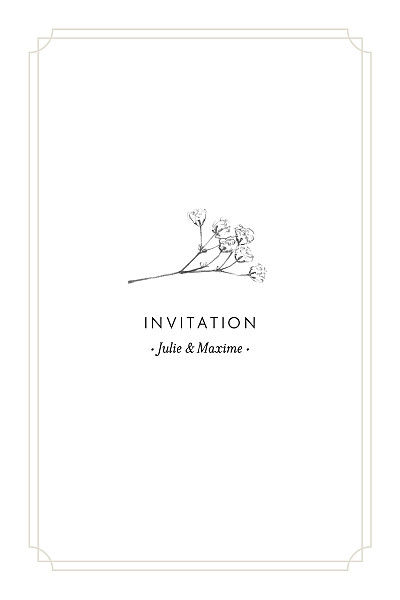 Carton d'invitation mariage Joli brin (portrait) beige finition
