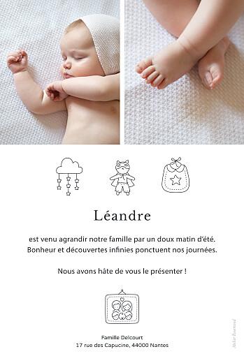 Faire-part de naissance Mon histoire en pictos (portrait) blanc - Page 2