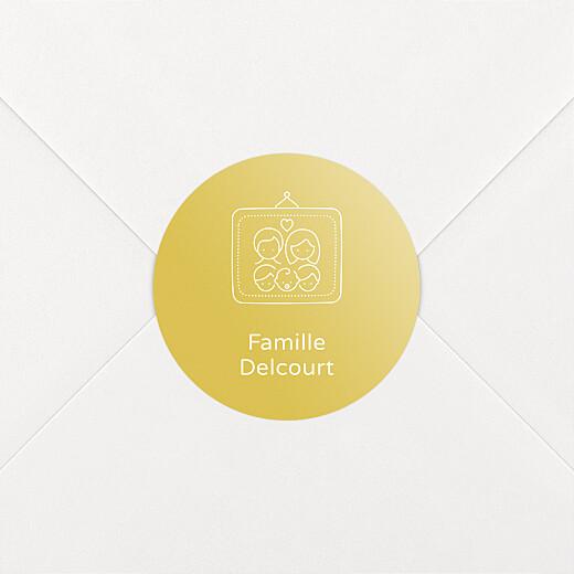 Stickers pour enveloppes naissance Mon histoire en pictos jaune - Vue 2