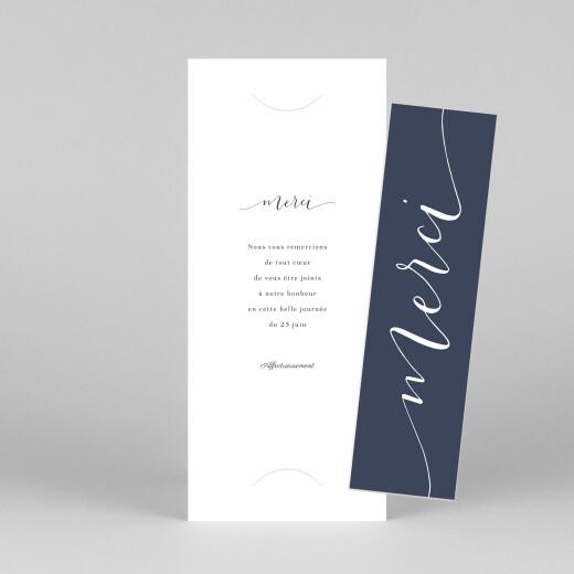 Carte de remerciement mariage Swing (marque-page) bleu marine - Vue 1