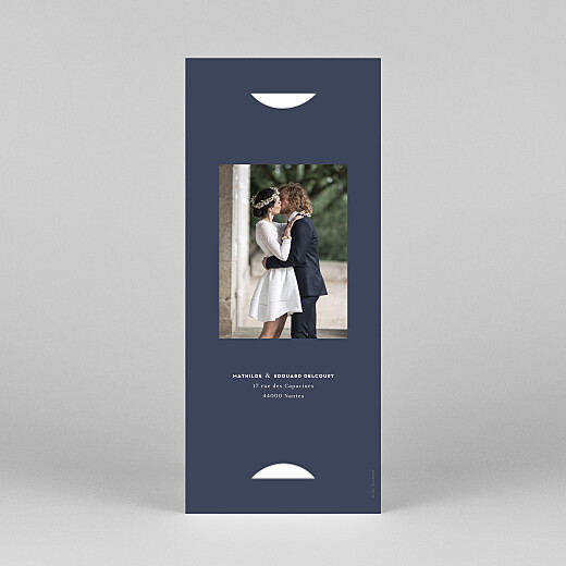 Carte de remerciement mariage Swing (marque-page) bleu marine - Vue 4