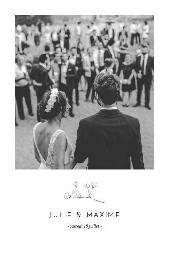 Carte de remerciement mariage Joli brin (portrait) beige