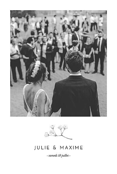 Carte de remerciement mariage Joli brin (portrait) beige finition