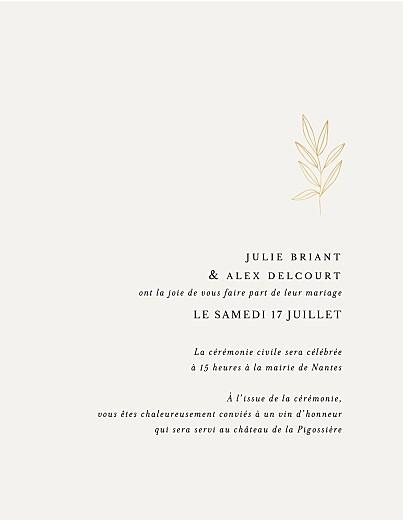 Faire-part de mariage Jeune pousse (dorure) (portrait) beige