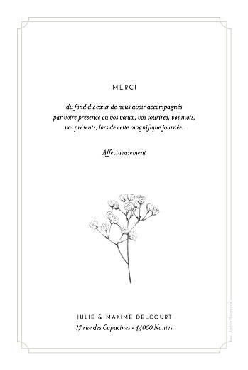 Carte de remerciement mariage Joli brin (portrait) beige - Page 2