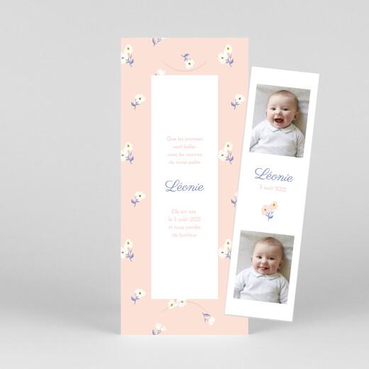 Faire-part de naissance Blossom (marque-page) rose - Vue 1