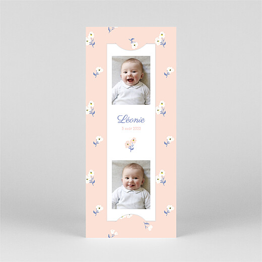 Faire-part de naissance Blossom (marque-page) rose - Vue 2