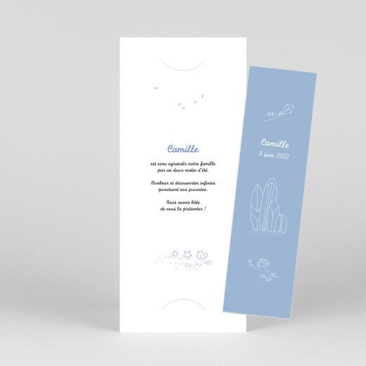 Faire-part de naissance Première vague (marque-page) 2 enfants bleu - Vue 1