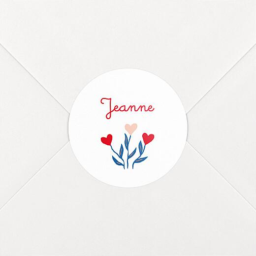 Stickers pour enveloppes naissance Flœurs rouge - Vue 2