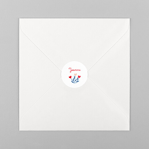 Stickers pour enveloppes naissance Flœurs rouge - Vue 1