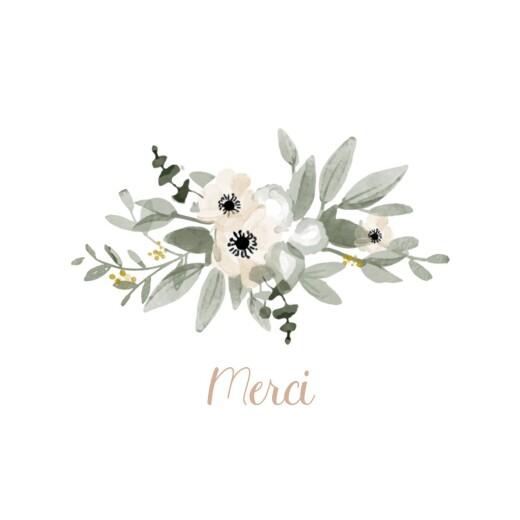 Carte de remerciement Berceau fleuri rose