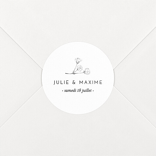 Stickers pour enveloppes mariage Joli brin blanc - Vue 2