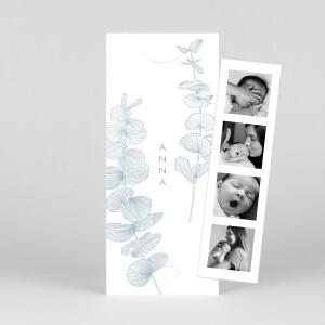 Faire-part de naissance Envolée d'eucalyptus (marque-page) bleu