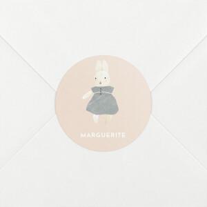Stickers pour enveloppes naissance Doux rêves (lapin) rose