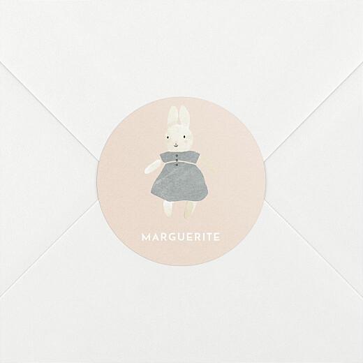 Stickers pour enveloppes naissance Doux rêves (lapin) rose - Vue 2
