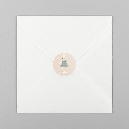 Stickers pour enveloppes naissance Doux rêves (lapin) rose - Vue 1