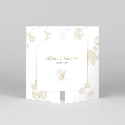 Faire-part de mariage Envolée d'eucalyptus (fenêtre) ocre - Vue 1