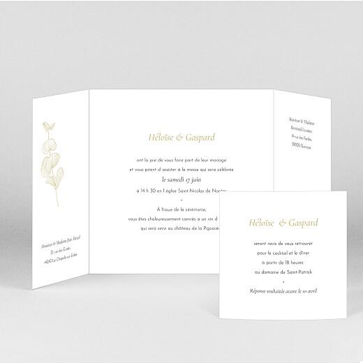 Faire-part de mariage Envolée d'eucalyptus (fenêtre) ocre - Vue 2