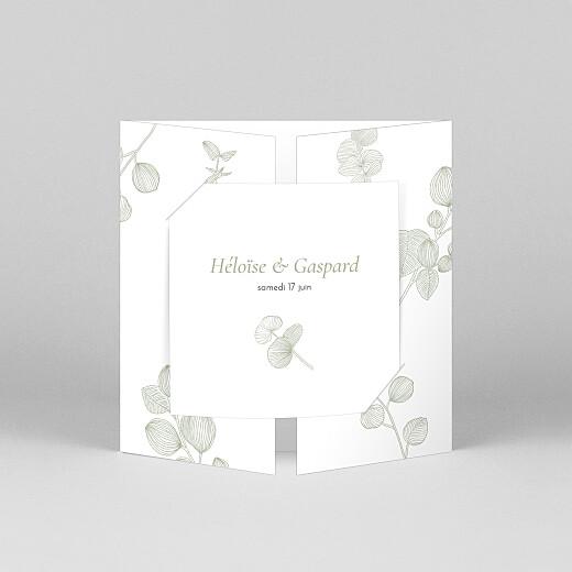 Faire-part de mariage Envolée d'eucalyptus (fenêtre) vert - Vue 1