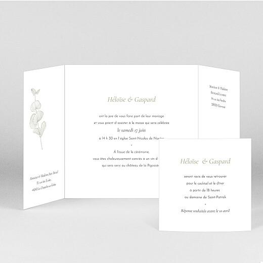 Faire-part de mariage Envolée d'eucalyptus (fenêtre) vert - Vue 2