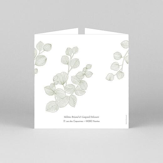 Faire-part de mariage Envolée d'eucalyptus (fenêtre) vert - Vue 3