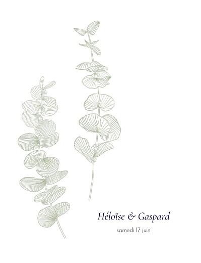 Faire-part de mariage Envolée d'eucalyptus vert