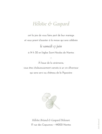 Faire-part de mariage Envolée d'eucalyptus vert - Page 2