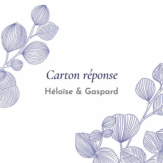 Carton réponse mariage Envolée d'eucalyptus bleu