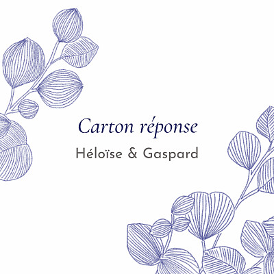 Carton réponse mariage Envolée d'eucalyptus bleu finition