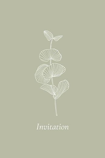 Carton d'invitation mariage Envolée d'eucalyptus (portrait) vert