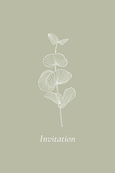 Carton d'invitation mariage Envolée d'eucalyptus (portrait) vert finition