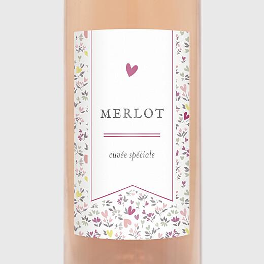 Étiquette de bouteille baptême Liberty coeur violet - Vue 2