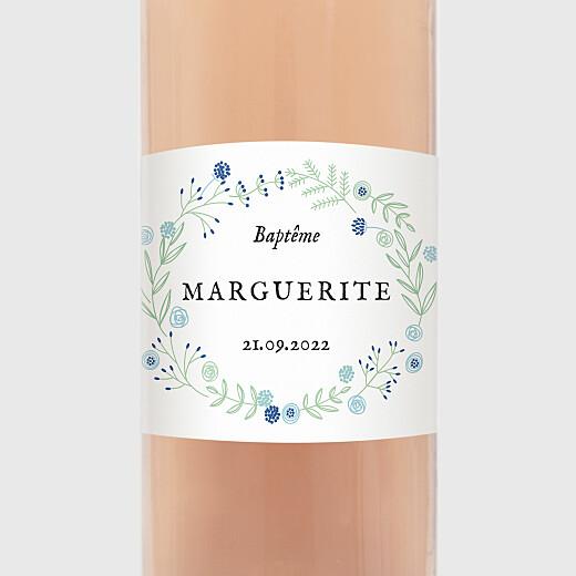 Étiquette de bouteille baptême Douceur champêtre bleu - Vue 2
