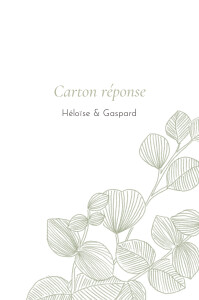 Carton réponse mariage Envolée d'eucalyptus vert