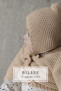 Faire-part de naissance Petite étiquette (portrait) blanc