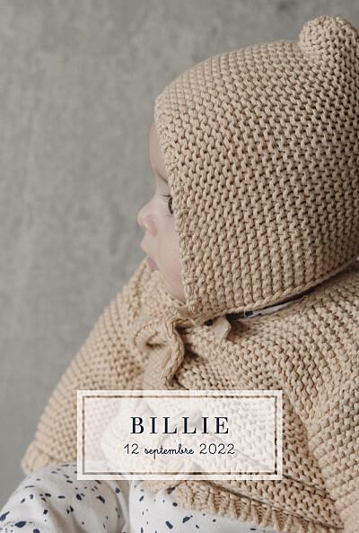 Faire-part de naissance Petite étiquette (portrait) blanc finition