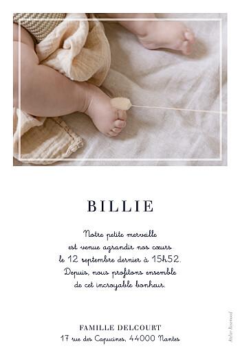 Faire-part de naissance Petite étiquette (portrait) blanc - Page 2