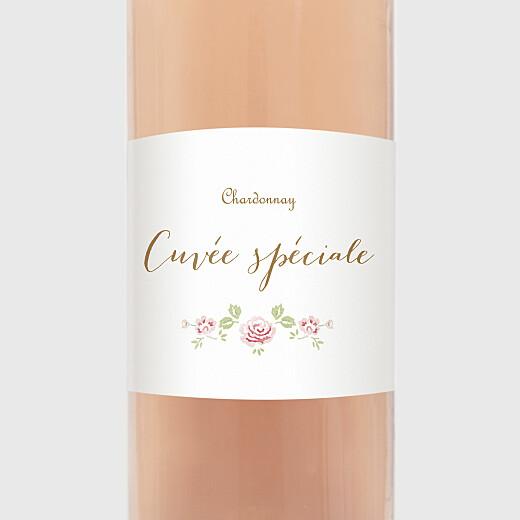 Étiquette de bouteille baptême Couronne de roses blanc - Vue 2