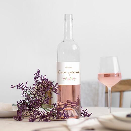 Étiquette de bouteille baptême Couronne de roses blanc - Vue 1
