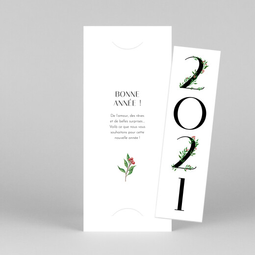 Carte de voeux Année fleurie (photomaton) blanc - Vue 1