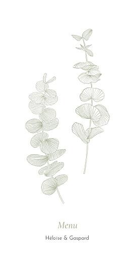 Menu de mariage Envolée d'eucalyptus vert