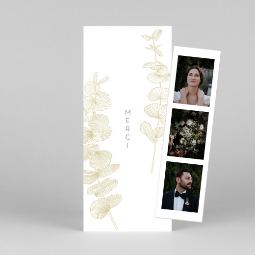 Carte de remerciement mariage Envolée d'eucalyptus (photomaton) ocre - Vue 1