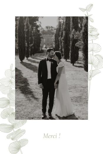 Carte de remerciement mariage Envolée d'eucalyptus vert