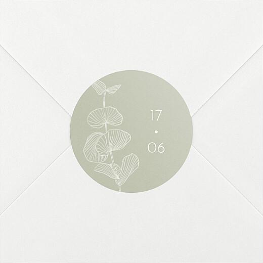 Stickers pour enveloppes mariage Envolée d'eucalyptus vert - Vue 2