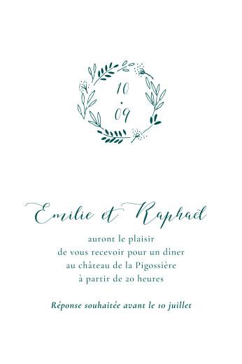 Carton d'invitation mariage Ronde des prés vert