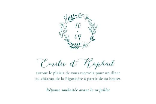 Carton d'invitation mariage Ronde des prés (paysage) vert