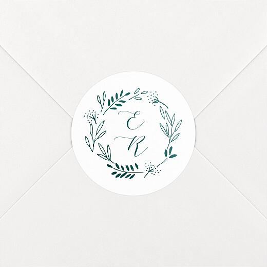 Stickers pour enveloppes mariage Ronde des prés (initiales) vert - Vue 2